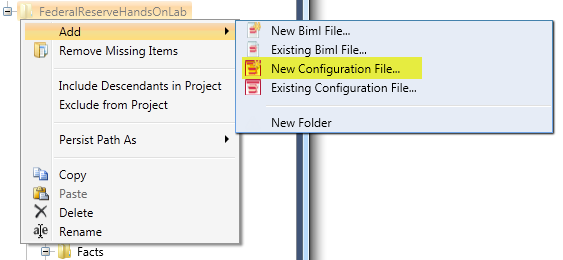 New Configuration File Context Menu