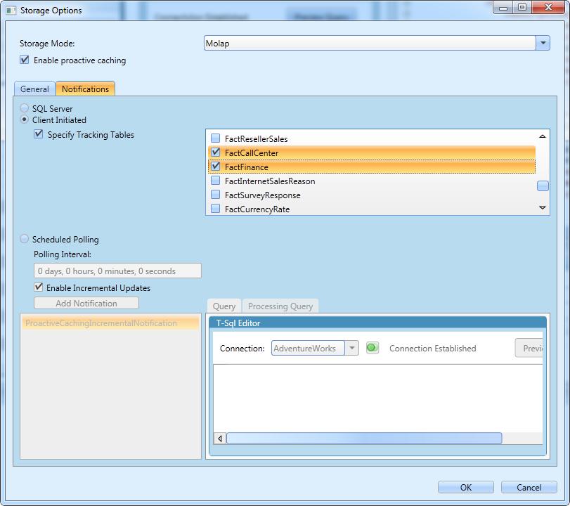 Storage Options Dialog Notifications