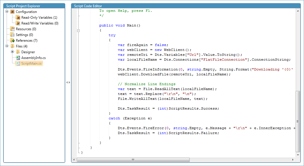 Script Project Designer