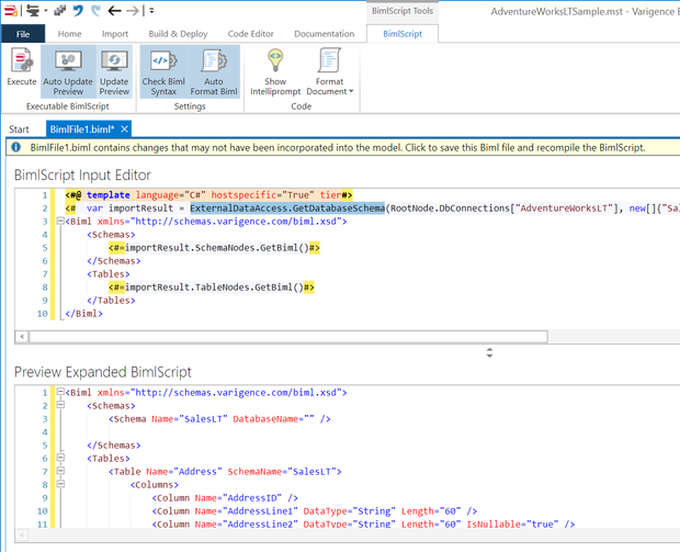 Expanded BimlScript Output