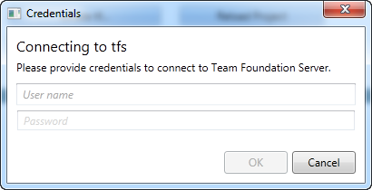 Credentials dialog box