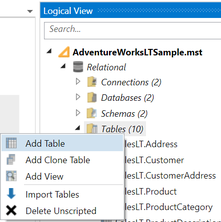 Context Menu - Add Table