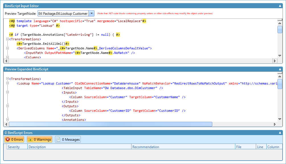 Late Arriving Dimension in BimlScript editor