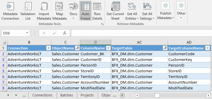 Column Metadata, Source and Target Columns