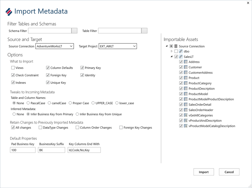 Import Metadata Tool UI