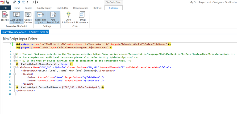 Create Extension Point Biml Script